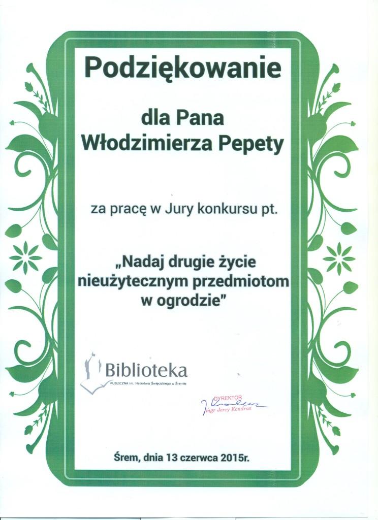 podziękowanie Biblioteka