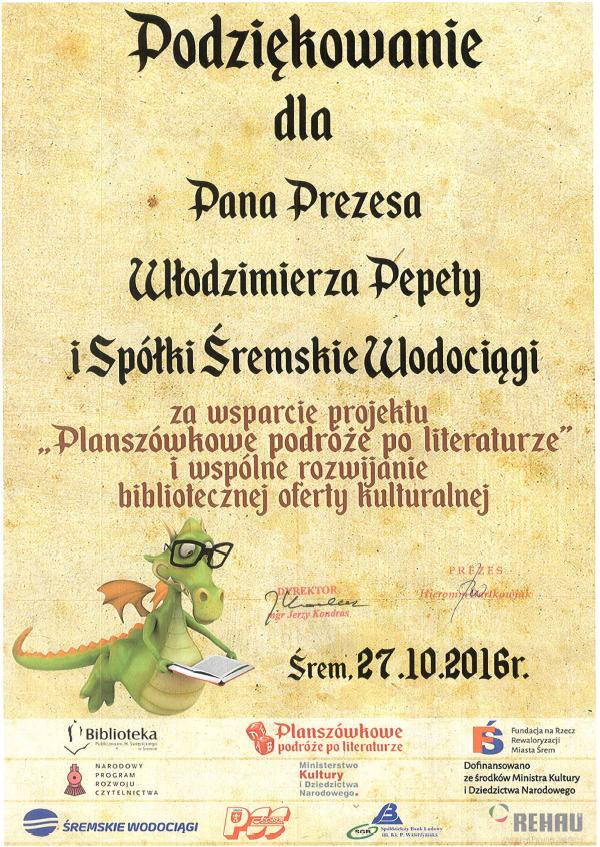 podziekowania biblioteka